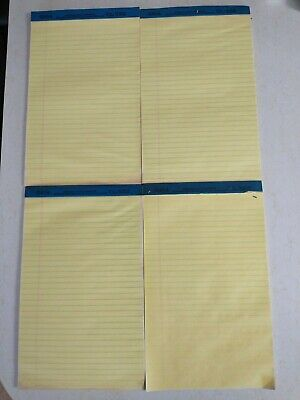 Legal Rule Writing Pads 8-12 X 13 Canary Yellow Paper Lot Of 4