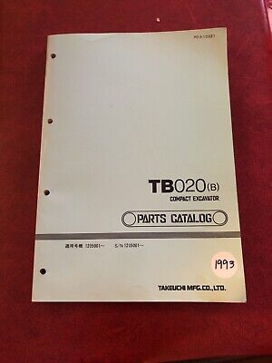 Oem Factory Takeuchi Tb020 Compact Excavator Parts Catalog Manual Book List