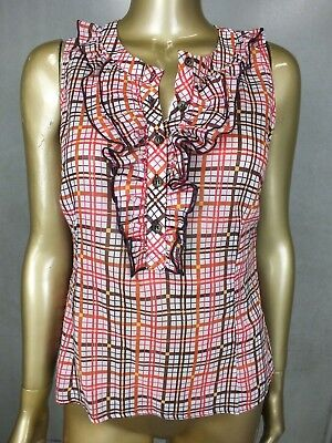 Ruffle-front Plaid Shirt (CUE BLOUSE SHIRT PLAID TOP RUFFLE FRONT BUTTON DOWN - SUIT CAREER - SIZE 10)