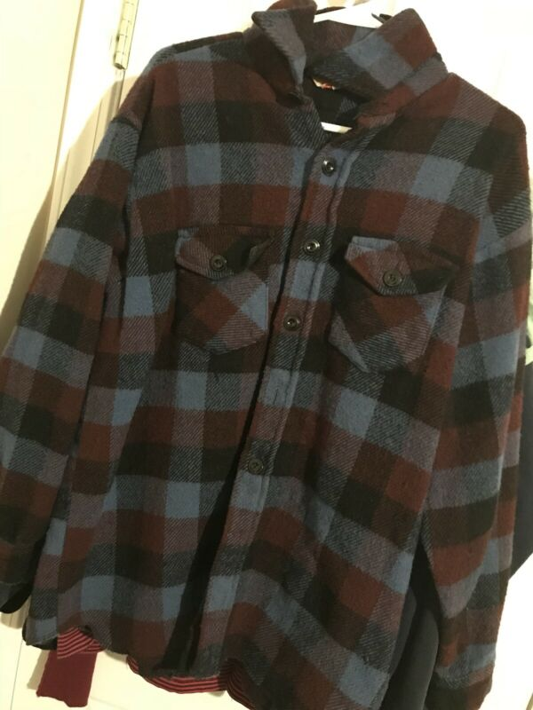 Vintage Frostproof Button Up Thick Wool Flannel Shirt/Light Jacket Adult XL