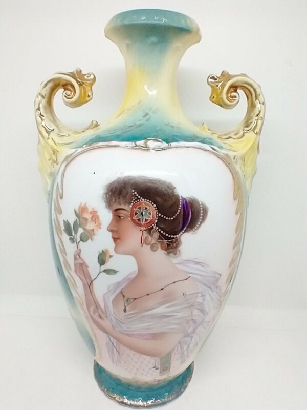 ES Germany Portrait Figural Vase Gibson Girl Hand Cold Painted Gold Accents 11.5
