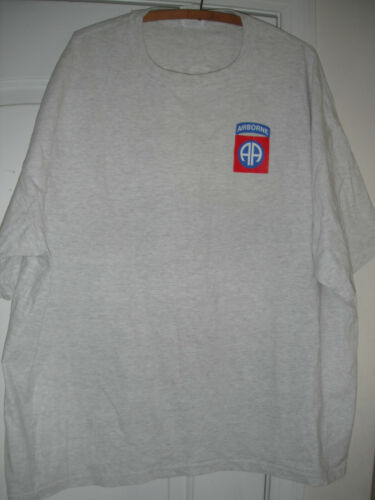 1992-2001 82ND AIRBORNE PARATROOPER TEE SHIRT SIZE XXL GREY, USED T-SHIRT 2XL