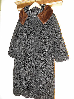 Vintage Womens Curly Persian Lamb Chocolate Mink Collar Long Coat Jacket Medium ()