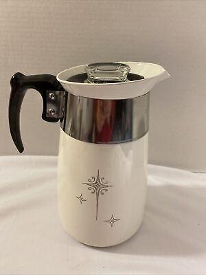 Rare Mid Century Corning Ware 6 Cup Coffee Percolator PLATINUM ATOMIC STARBURST