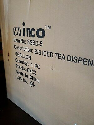 Winco Stainless Steel Iced Tea Dispenser 5-gallon. Great Slim Modern Design.
