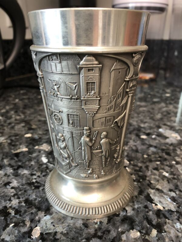 """GES.GESCH. FEINZINN NK WEST GERMANY PEWTER GOBLET CUP 5"""" Victorian Style Vintage"""