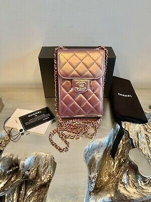 CHANEL 20B Iridescent Purple Phone Holder WOC Wallet On Chain MINI Crossbody NWT