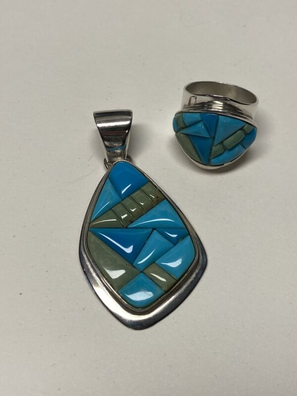 DTR Jay King .925 Sterling & Turquoise Inlay Ring Size 9 & Pendant