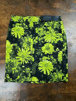 Women's Michael Kors Lime Green Floral Pencil Skirt Belted Sz 8 Lined - Lime Green Skirt