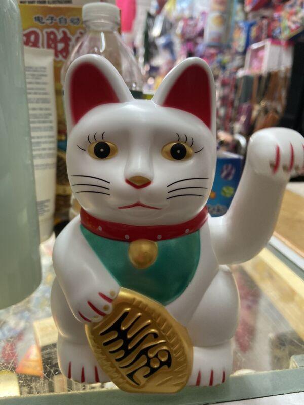 "Fortune Lucky White Cat Kitten Feng Shui Wealth Waving Maneki Beckoning 6"""