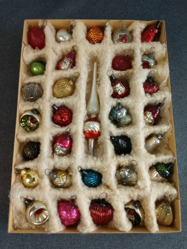 Antique Box German Feather Tree Christmas Ornaments Topper Hearts Acorns Santas