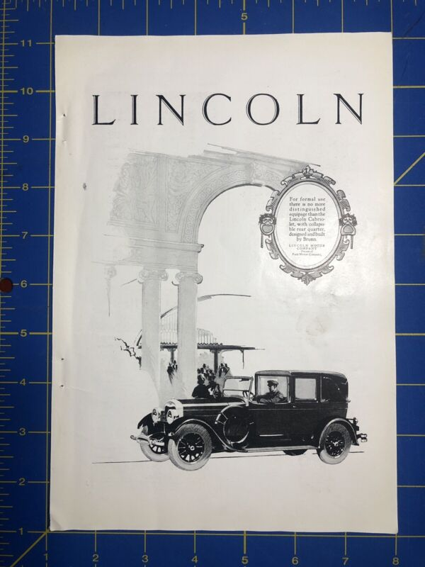 1926 Lincoln Cabriolet Vintage Print Ad, Lincoln Motor Company, Brunn, Ford