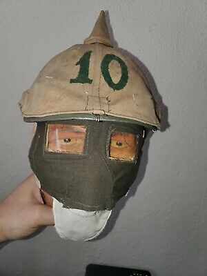 WWI 10th Bavarian Inf. Picklehaub and Early type 1915  tampon gas mask.