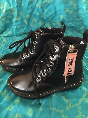 $55 ZARA KIDS Girls Black Studded Ankle Boots Size 27 (US 10) Worn Once.