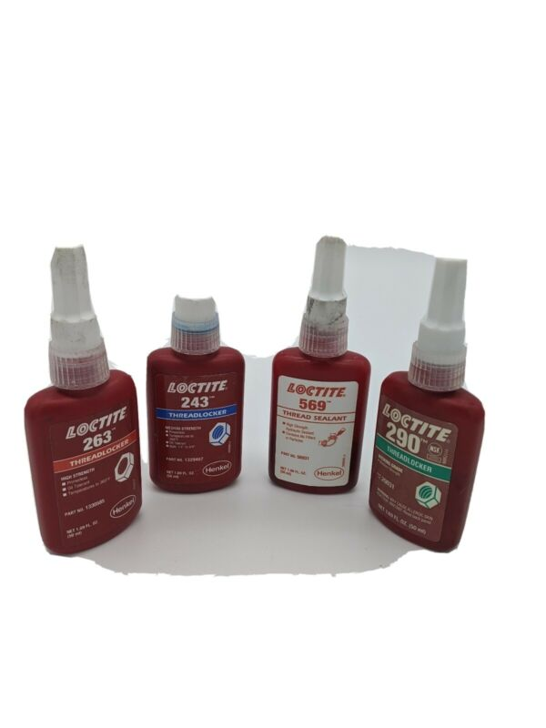 LOCTITE 243, 263, 290, 569, 50ml bottles partially full Past exp. Date