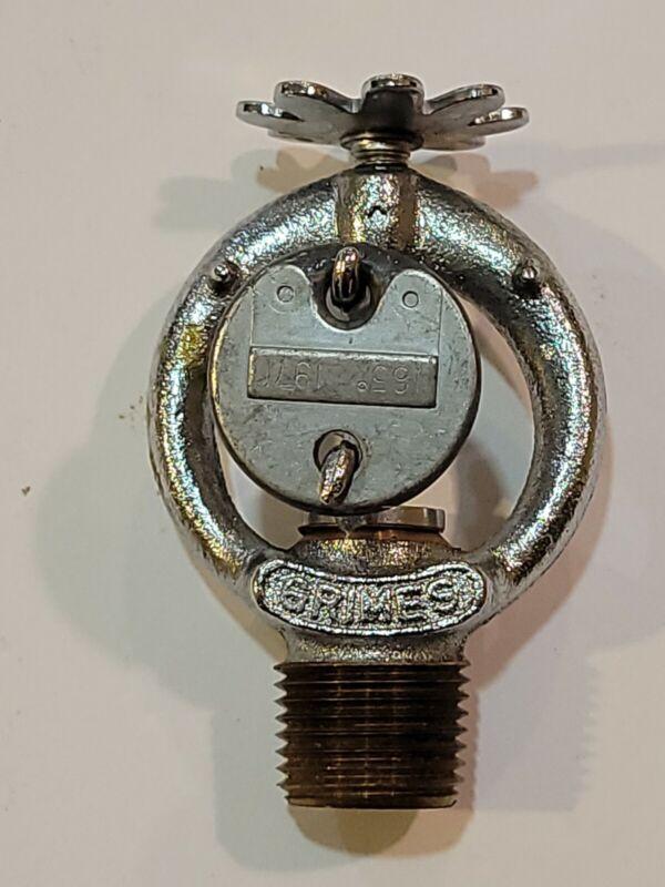 Fire sprinkler antique  chrome 1971 pendent Grimes brass rare bright #27