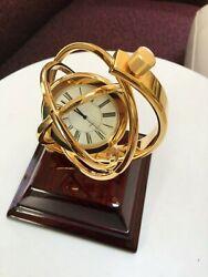 Galileo 360 Degree GYRO movement DESK CLOCK MAHOGANY & GOLD