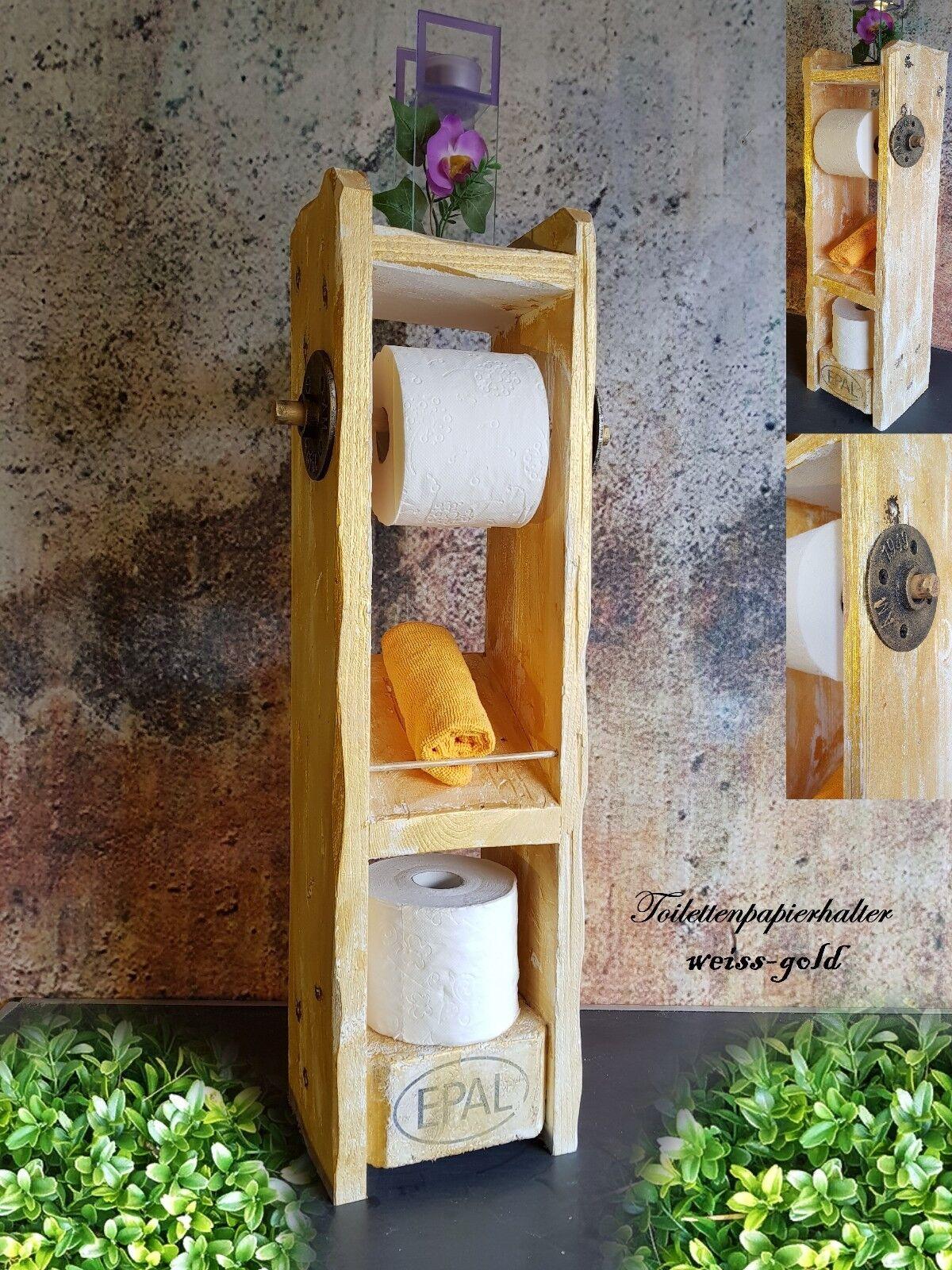 Toilettenpapierhalter Palettenmöbel Klopapierhalter Holz Shabby  Bad Design Gold