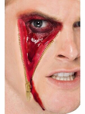 Zipper Face Halloween Fake Latex Joke Scar Fancy Dress Zombie Special FX Make Up