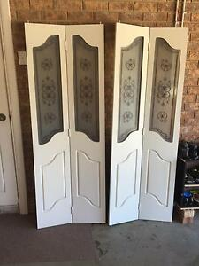 2 x BI FOLD TIMBER DOORS WITH GLASS PANELS Strathfield Strathfield Area Preview