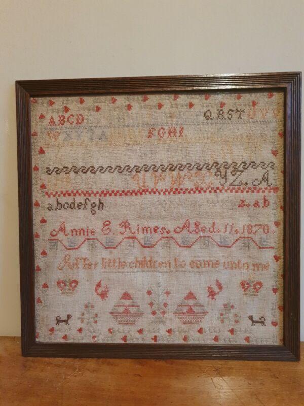 """Large framed antique sampler 1870 embroidery 18"""" x 18"""""""