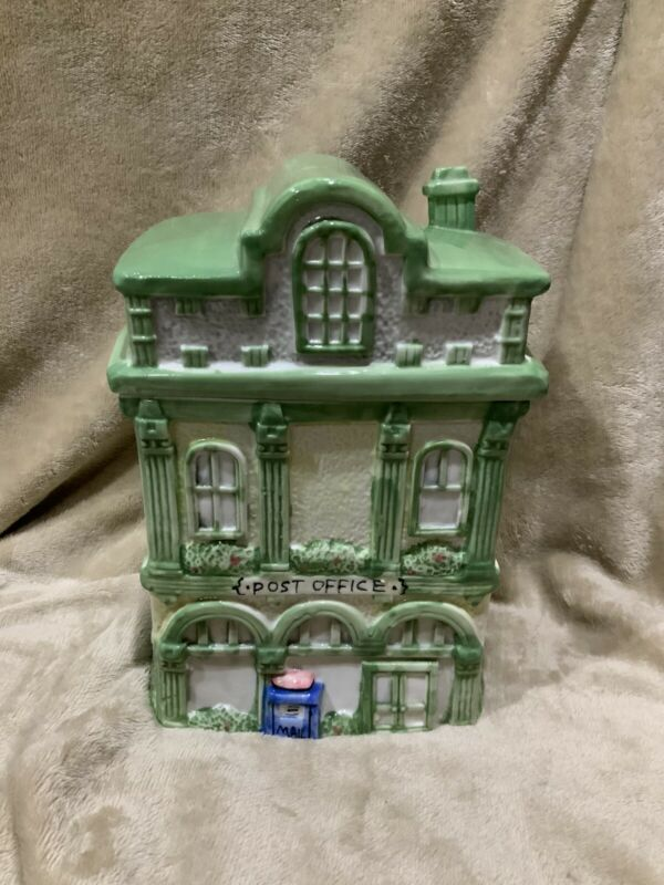 COLLECTIBLE Post Office House Cookie Jar UNIQUE GIFT Excellent Condition