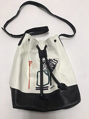 Lizzie Fortunato White Leather Bucket Purse W Palm Trees