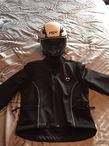 Motorcycle ladies jacket and helmet.