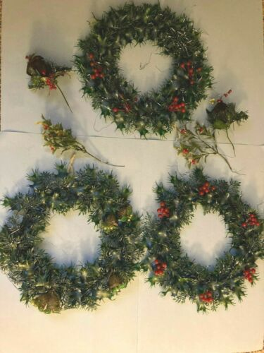 "3~Vintage BERRY & Gold Bells 13"" WREATHS~Plastic Evergreen/ Holly Greenery~1960s"