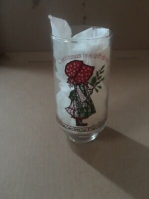 Vintage Holly Hobbie Christmas is a Gift of Joy Glass Limited Edition