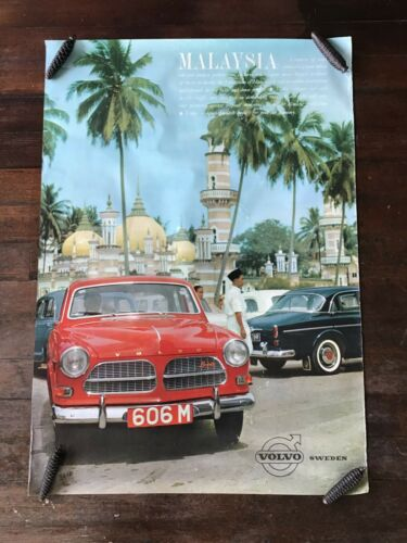 1960s Volvo red coupe,  original dealership color showroom poster.