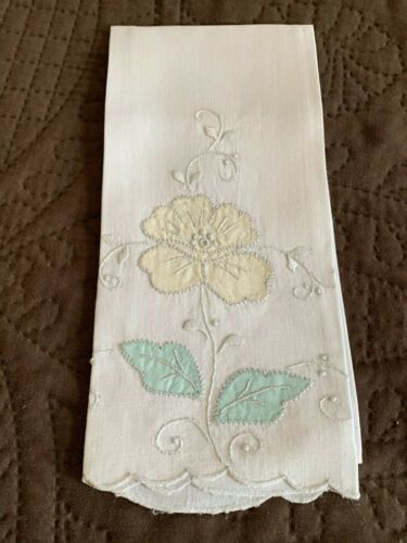 Pretty Antique Edwardian Hand Embroidered + Appliqued Linen Hand Towel