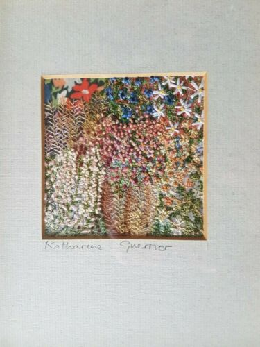 Needle art Embroidery picture framed Flowers Acclaimed artist Katharine Guerrier