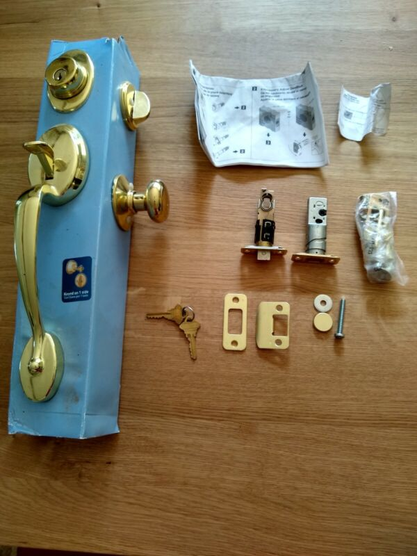 NEW Schlage Front Entry LEVER HANDLE SET Brass PLYMOUTH FLAIR P516-283 F60F F62