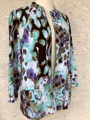 New Chicos Jacket Womens 1 US 8 Linen Rayon Blend 3/4 Sleeves Pockets Dressy NWT