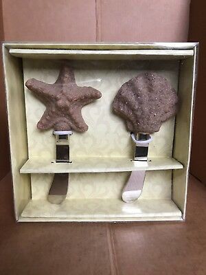 Set Of 2 Cypress Home Star Fish & Shell  Polystone Handle Spreaders