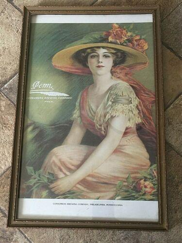 Vintage Print in Frame 17 x 11  PENN BEER Consumers Brewing Co Phila.  Gilbert