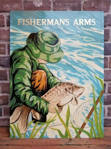 "Vintage English Reclaimed Fishing ""Fishermans Arms"" Pub Sign"