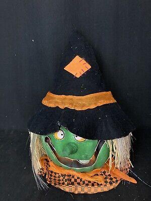 Gemmy Fiber Optic Witch Head (Pumpkin) Halloween Decoration RARE!
