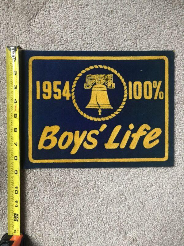 Boys Scout 1954 Boys Life 100% Banner Patch Felt