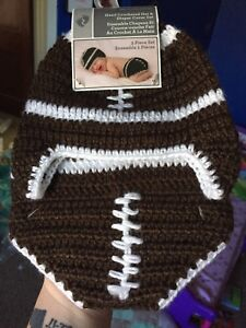 Hat & diaper cover football set.
