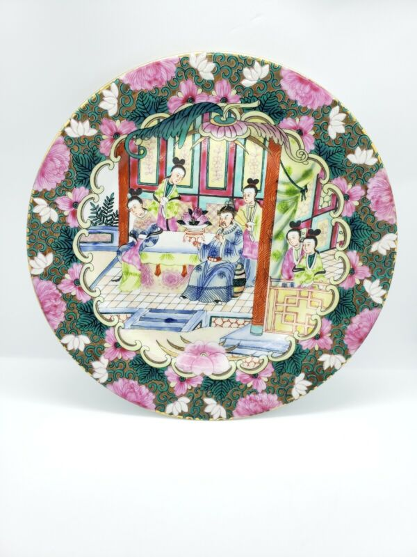 Vintage Hand Painted Chinese Porcelain Decorative wall plate Gathering at table