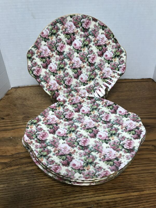 4 Royale Garden Staffordshire Chintz Collection cake plates