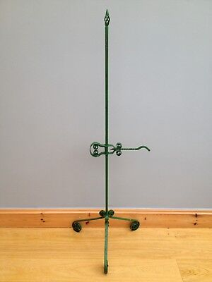 Antique Wrought Iron Rush Light Floor Standing Adjustable Old Early Vintage.