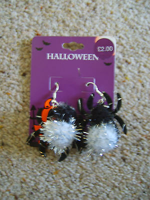 Ladies Girls Spider Earrings Ear Rings Halloween Fancy Dress Costume Accessory
