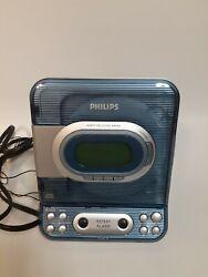 PHILIPS AJ3977 CD player Radio Alarm Clock Combo Unit Clear Blue TESTED
