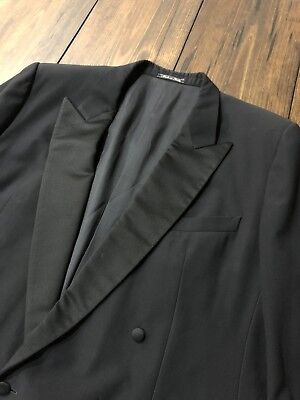 (Ermenegildo Zegna Peak Lapel Satin Tuxedo Jacket Double Breasted • Italy • 42 R)