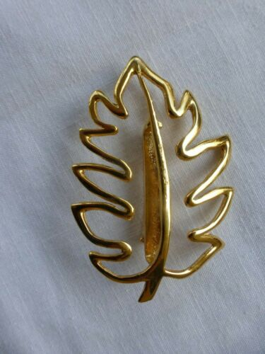 """Vtg Signed Ultra Craft Golden Leaf Modernistic Pin Brooch Large 3.25"""" x 2"""""""