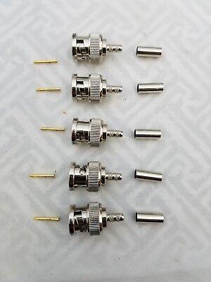 5 Lot Pomona 7042 Bnc Male For Miniature Rgb Coax Belden 1407b 1164b 1167b