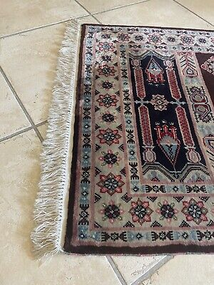 Turkish Antique Handknotted Woollen Multi-Coloured Rug with Frill